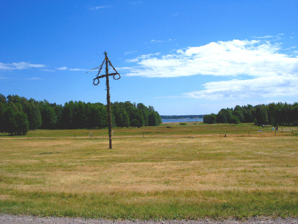 A solitary Midsummer pole, somewhere in Sweden